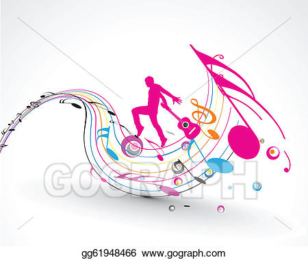 Vector music dance background. Dancer clipart abstract