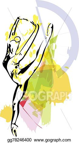 Vector dancer illustration sketch. Ballet clipart abstract