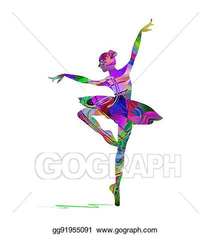 Vector stock dancer silhouette. Ballet clipart abstract