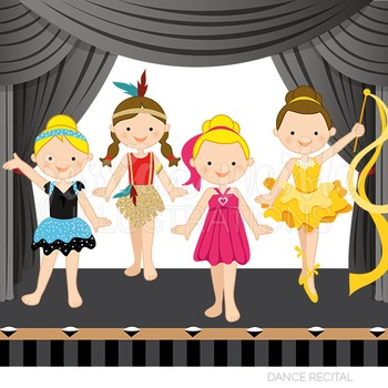 Dance clipart dance recital. Cute digital girls graphics