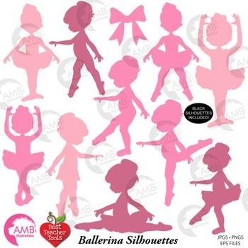 Ballerina silhouettes in black. Ballet clipart ballet teacher
