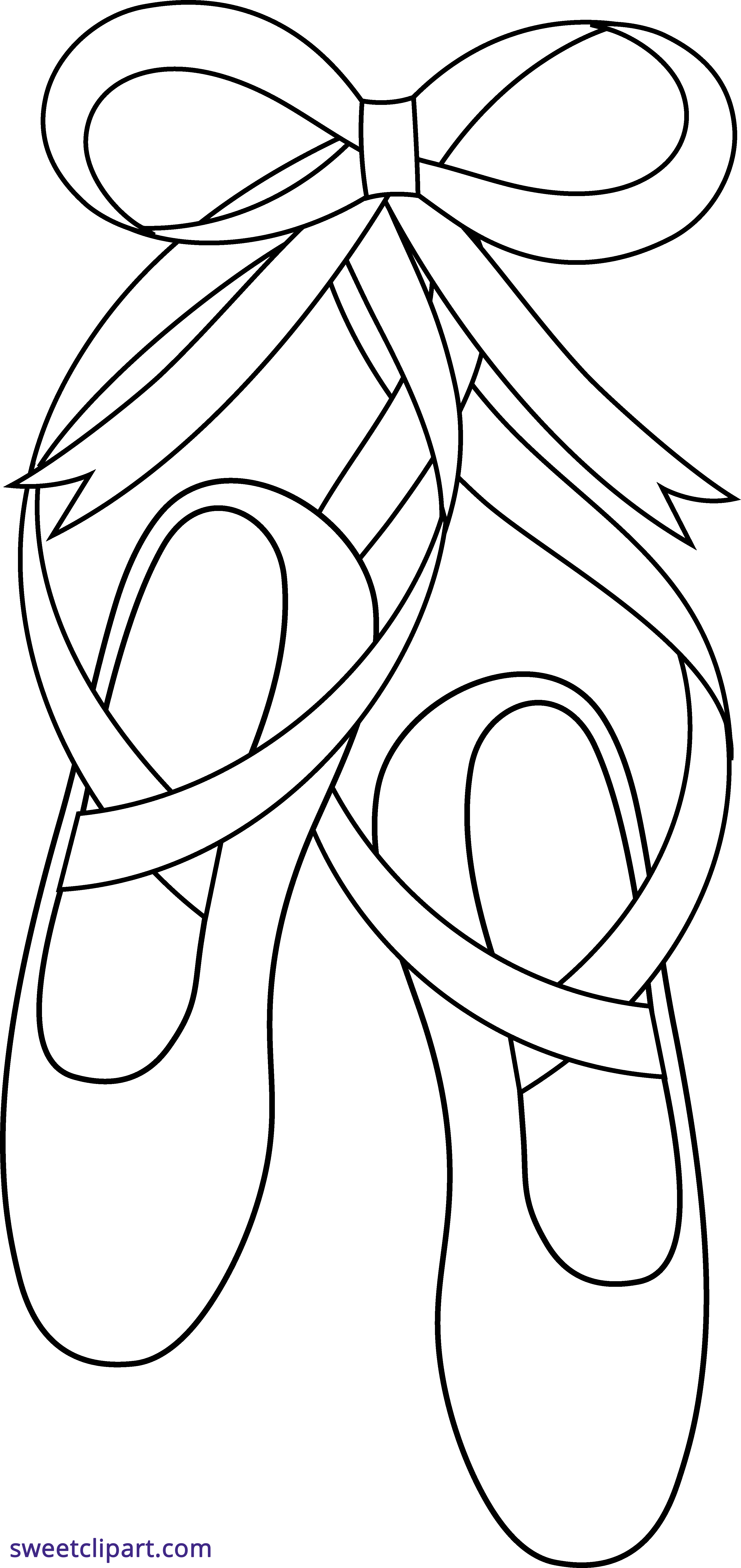 Ballerina clipart ribbon. Ballet shoes outline sweet
