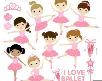 Ballerina pink stuff. Ballet clipart little girl