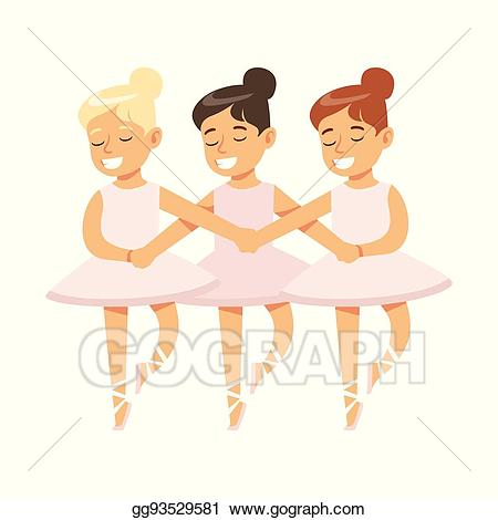Vector girls dancing swans. Ballet clipart little girl
