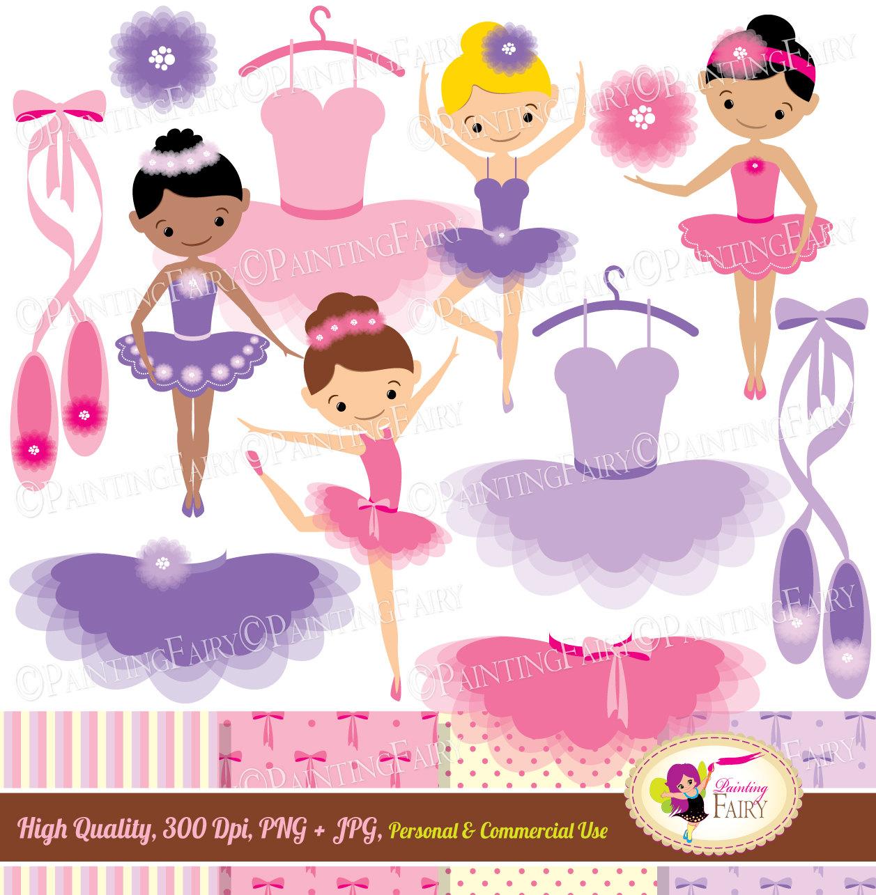 Ballet clipart little girl. Ballerinas clip art set