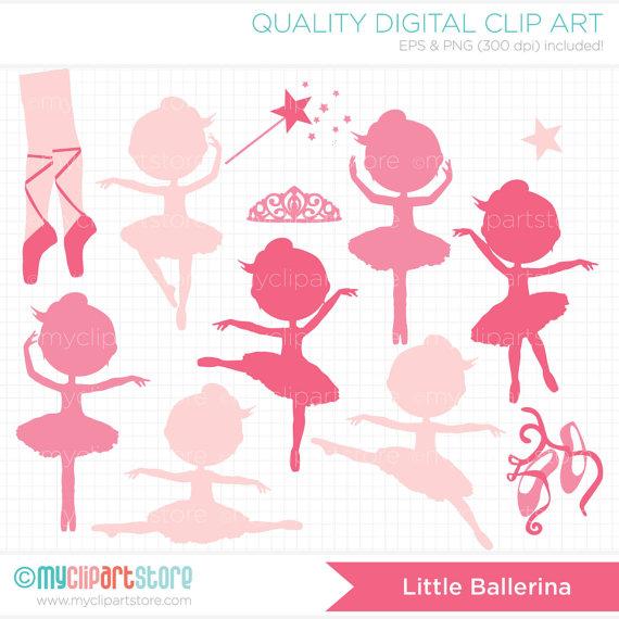 Ballet clipart princess. Digital stamps ballerina silhouette