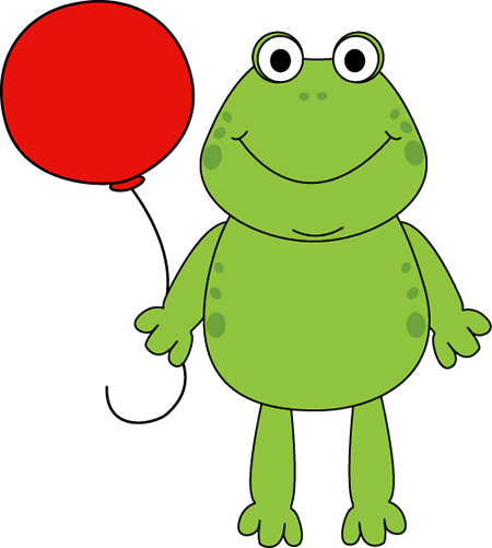 With a balloon clip. Frog clipart craft