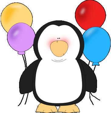Animals clipart penguin. Holding balloons clip art