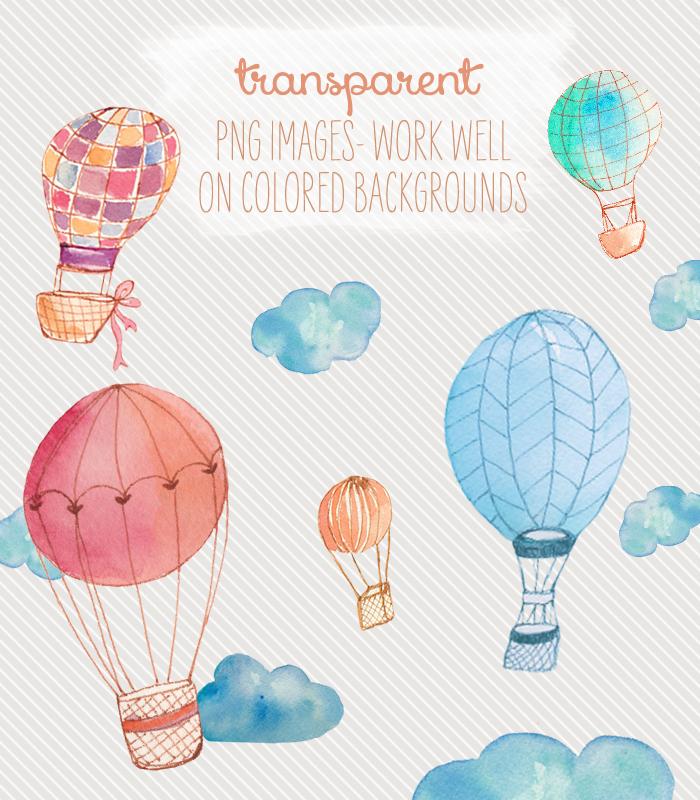 Balloon clipart watercolour. Watercolor hot air clip