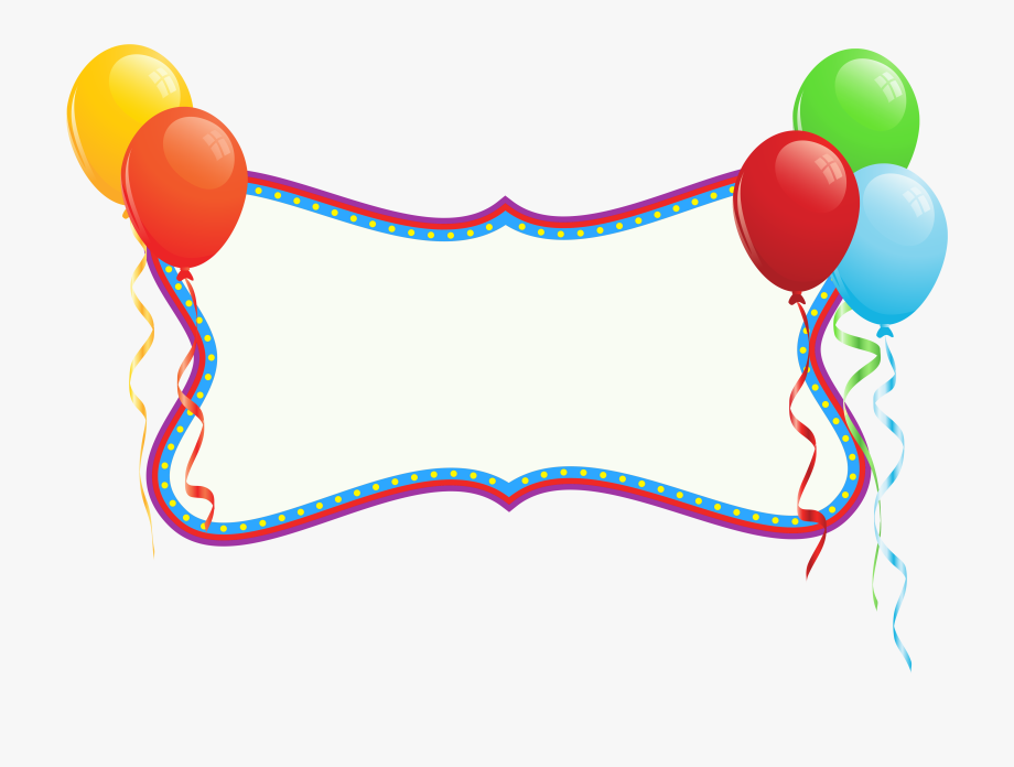 Balloon clipart banner. Birthday with balloons png