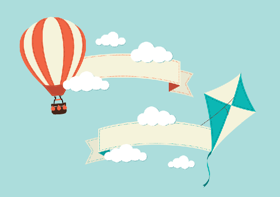 Banners with hot air. Balloon clipart banner