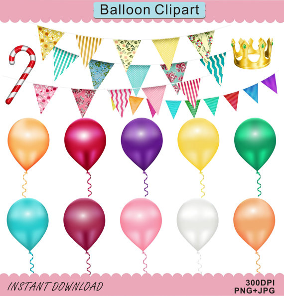 Balloon clipart banner. Triangle bunting party birthday
