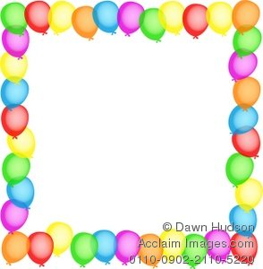 Decorative party border design. Balloon clipart boarder