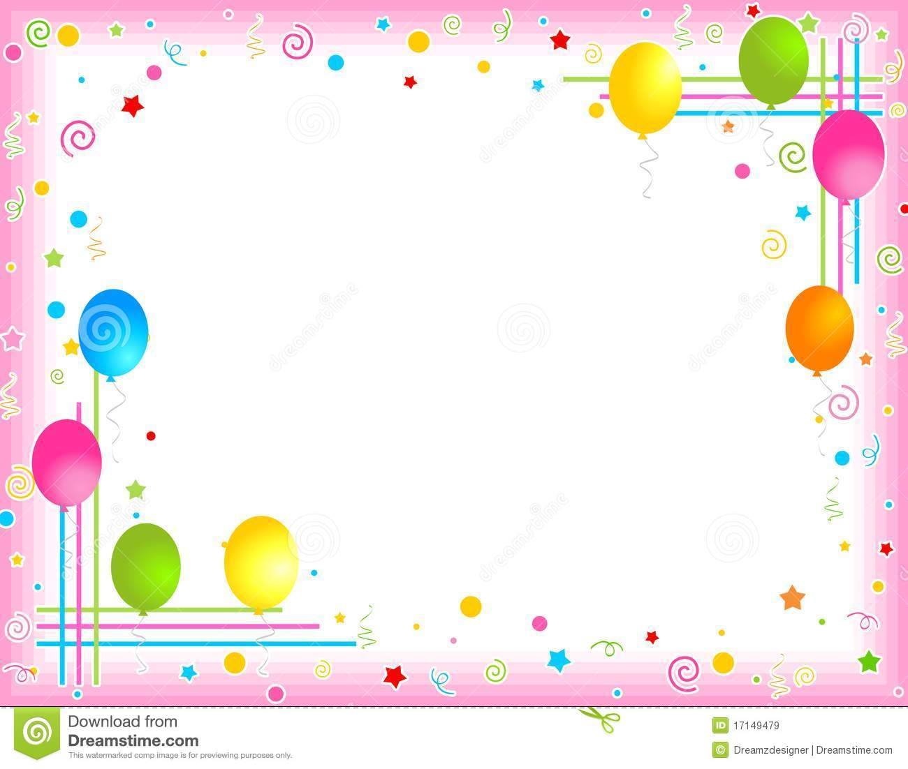 Party borders for invitations. Balloon clipart classy