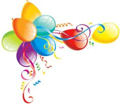 Balloon clipart clear background. Birthday with colored transparent