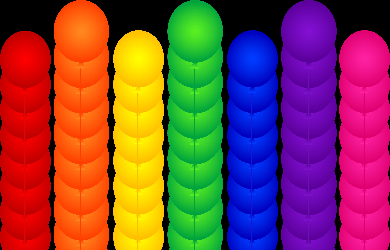 Seven rainbow birthday party. Clipart balloon row