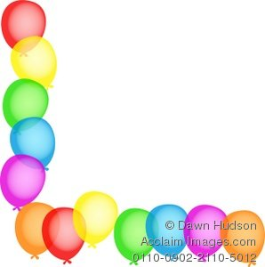 Balloon clipart borders. Illustration of a birthday