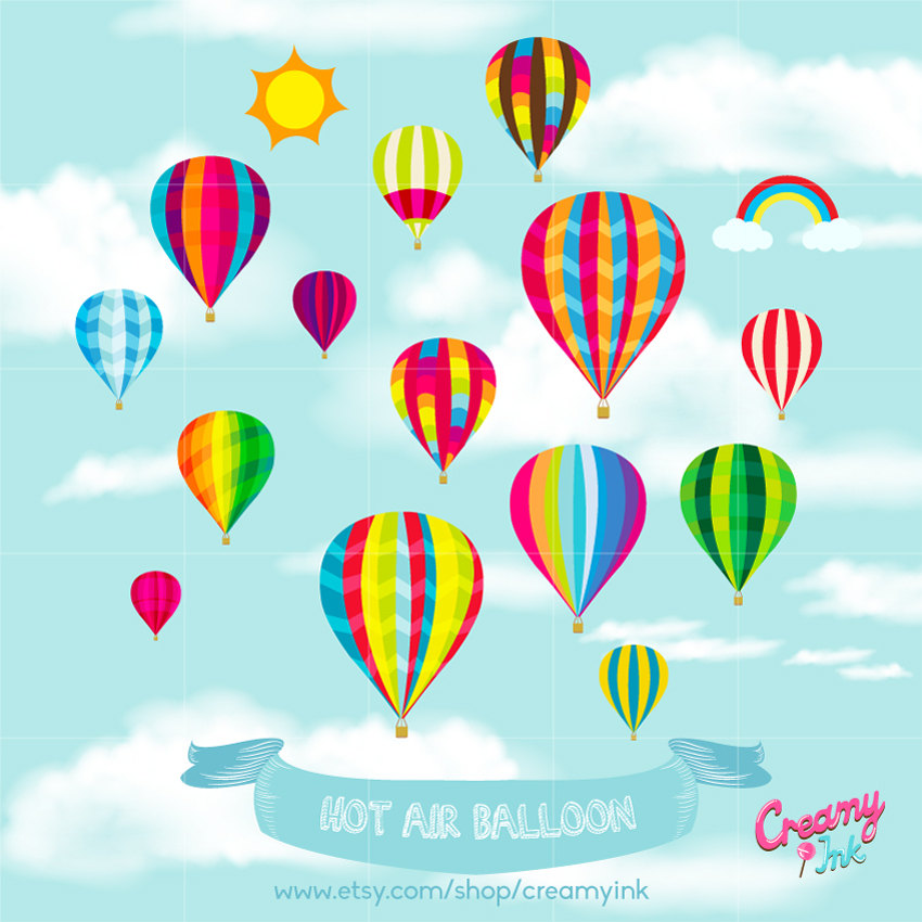 Balloon clipart design. Hot air party digital