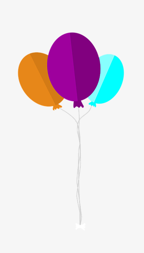 Tricolor balloons flat rope. Balloon clipart design