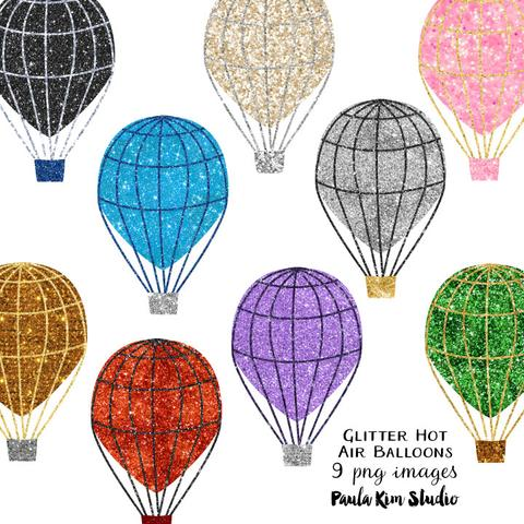 Hot air clip art. Balloon clipart glitter