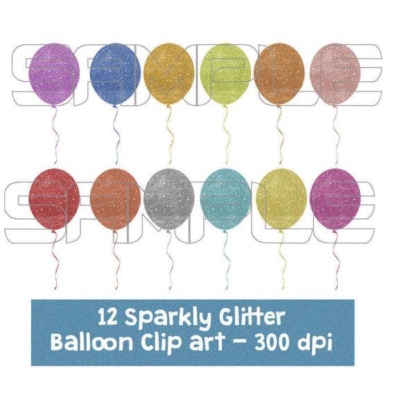 Digital sparkly glittery balloons. Balloon clipart glitter