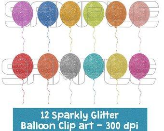 Balloon clipart glitter. Etsy digital sparkly glittery