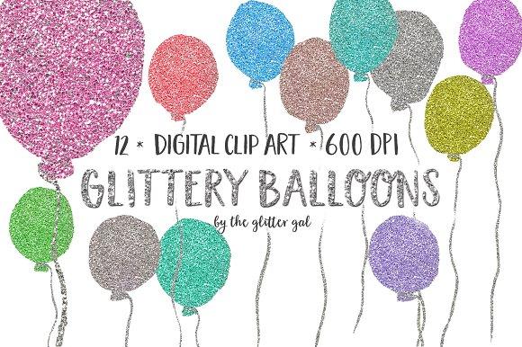 Balloon clipart glitter. Balloons clip art set