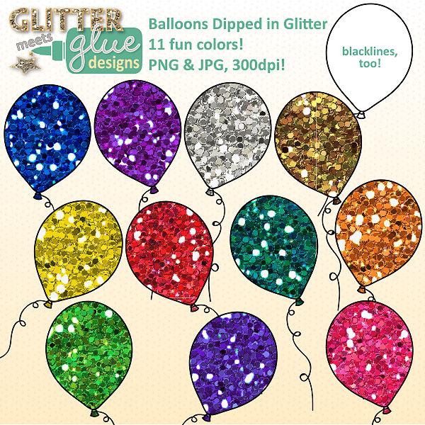 . Balloon clipart glitter