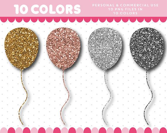 Balloon clipart glitter. Gold silver textures digital