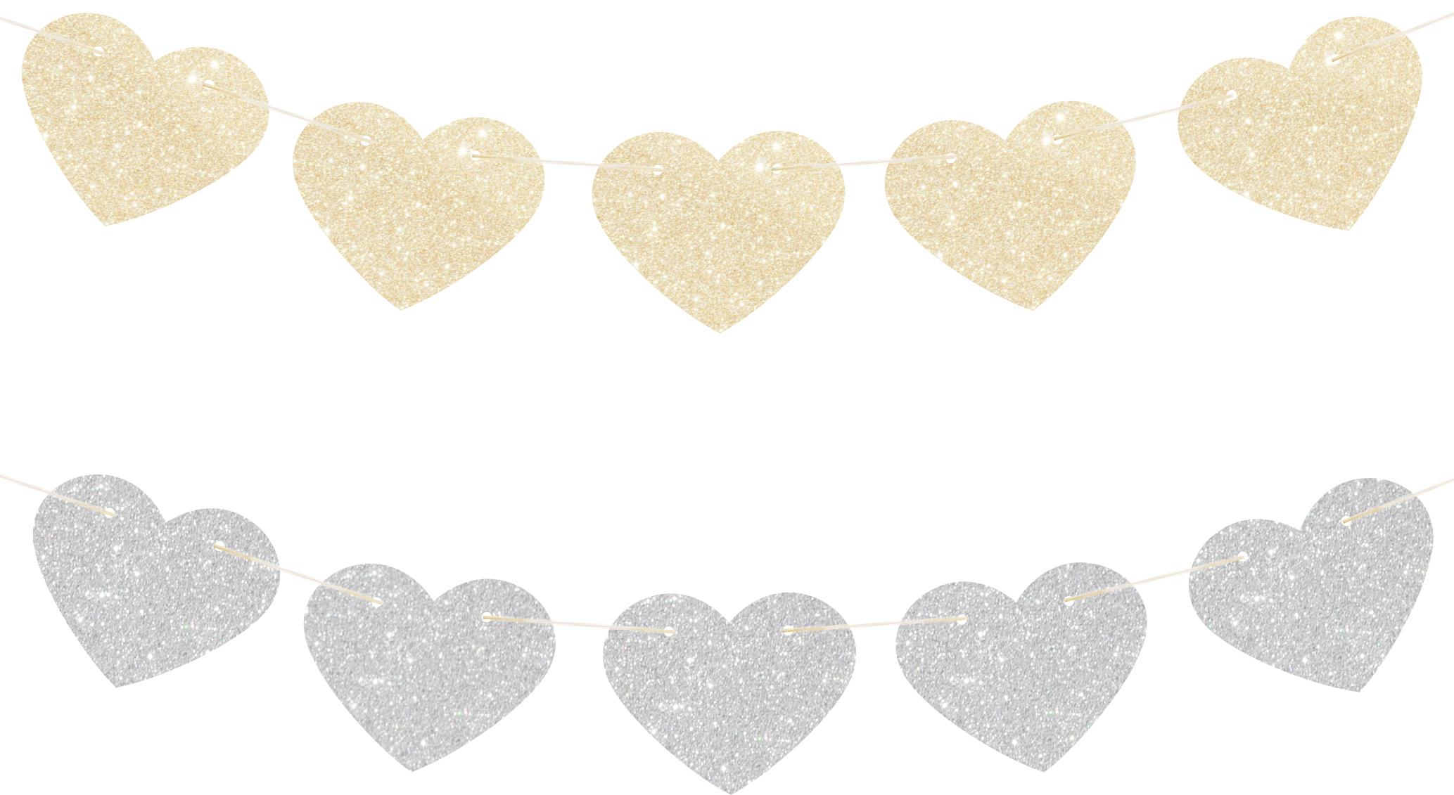 Garland gold silver hearts. Balloon clipart glitter