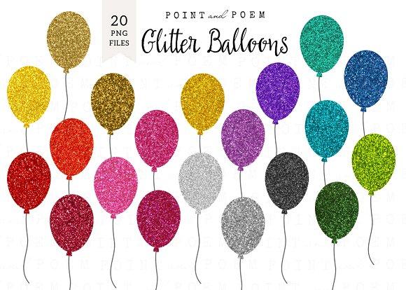 Balloon clipart glitter. Illustrations creative market