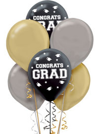 Black gold silver in. Balloon clipart graduation