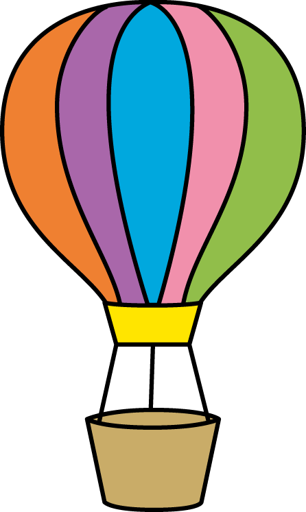 Colorful hot balloon small. Parachute clipart air ballon