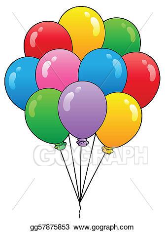 Balloon clipart cartoon. Vector group of balloons