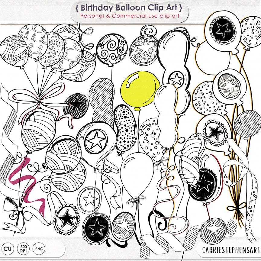 Happy birthday art doodle. Balloon clipart line