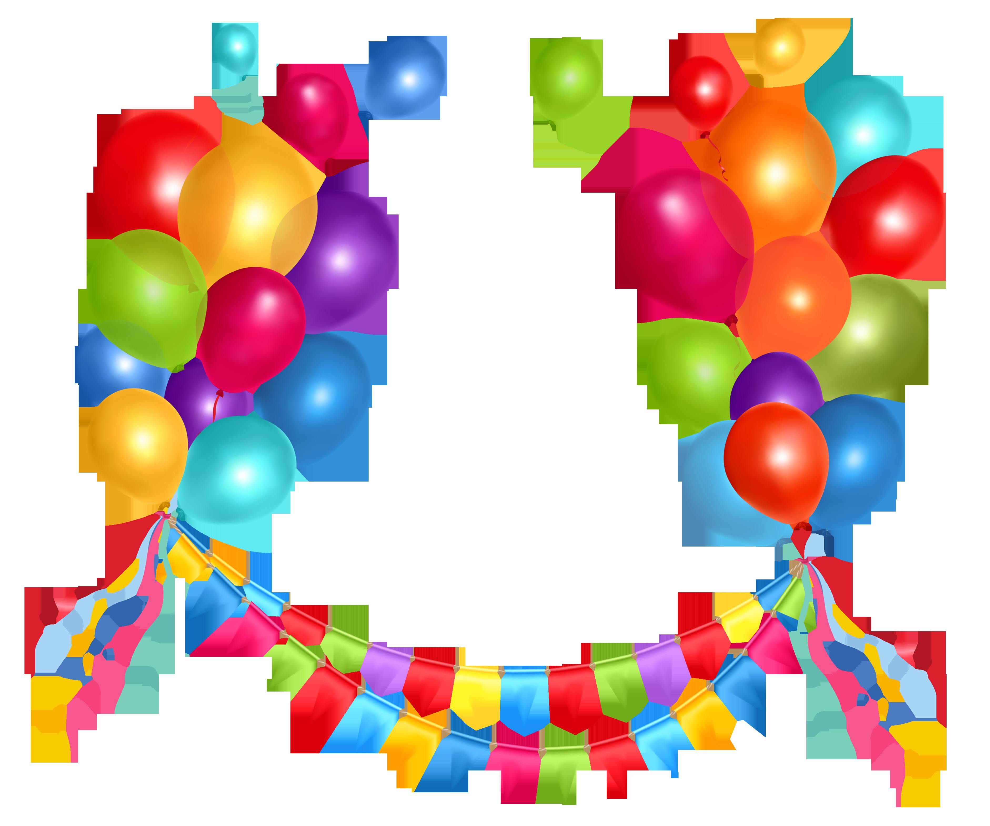 Transparent streamer and balloons. Balloon clipart party balloon