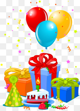 Birthday gifts png images. Ballon clipart presents