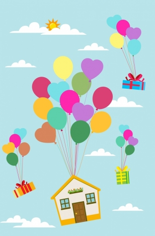 Balloons background floating house. Ballon clipart presents