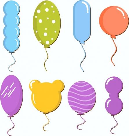 Balloon icons collection various. Ballon clipart shape