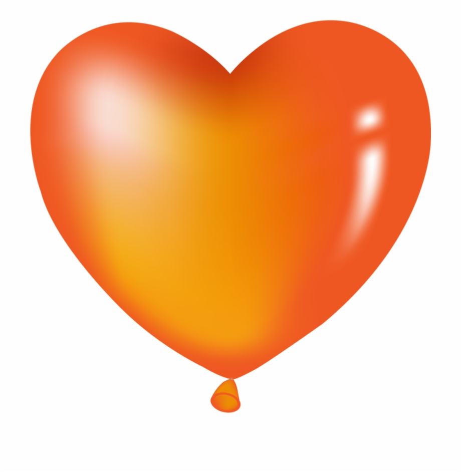 Ballon clipart shape. Orange heart balloon balloons