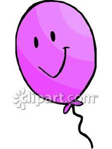 A purple balloon with. Ballon clipart smiley face