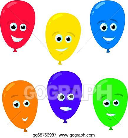Ballon clipart smiley face. Vector art cartoon balloon