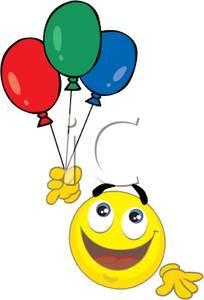 Ballon clipart smiley face. A holding balloons royalty