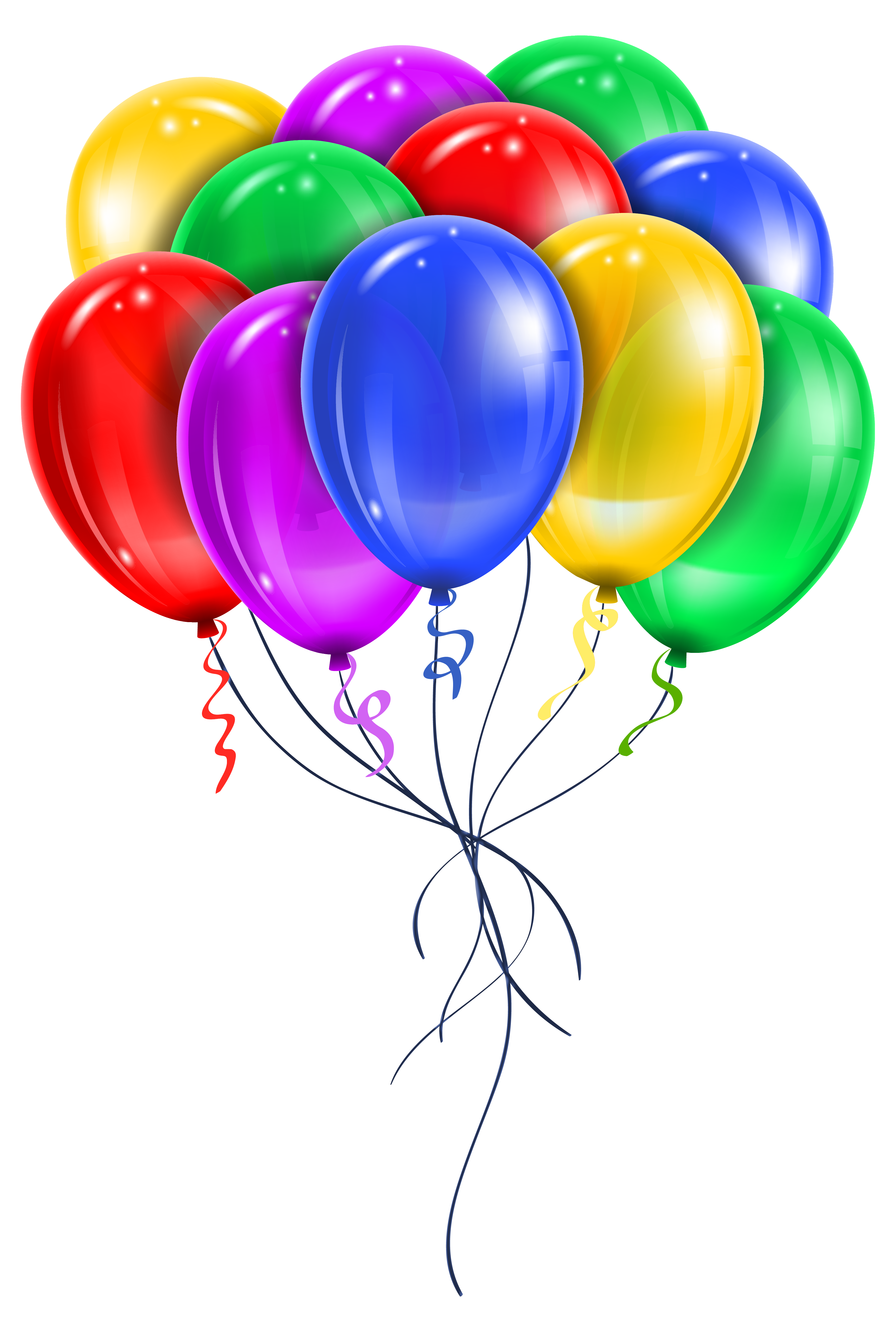 Transparent multi color balloons. Clipart balloon rose gold