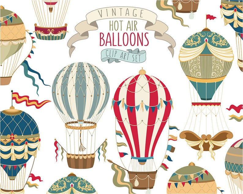 Clipart balloon vintage. Hot air unique vector