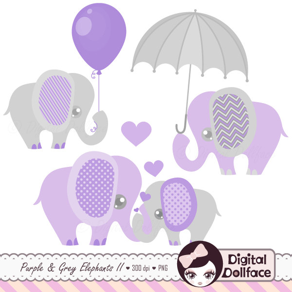 Purple and grey shower. Balloon clipart baby elephant