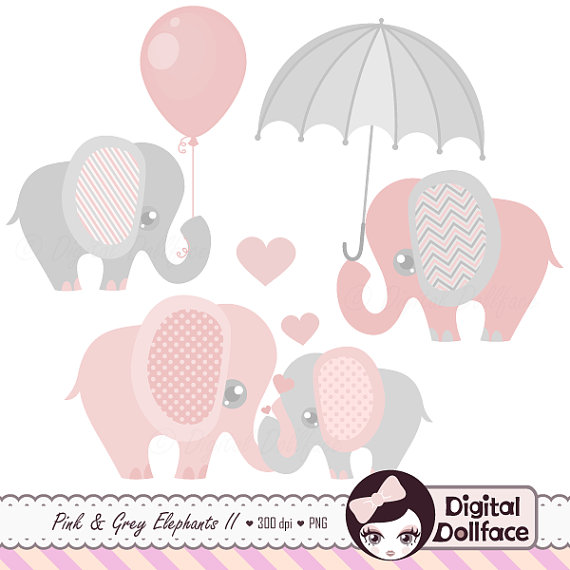 Balloon clipart baby elephant. Pink and grey clip