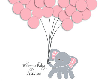 Balloon clipart baby elephant. Guest book etsy shower