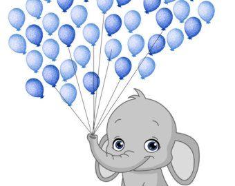 Baby shower fingerprint guest. Clipart elephant balloon