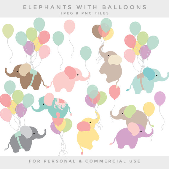 Balloon clipart baby elephant. Nursery clip art elephants